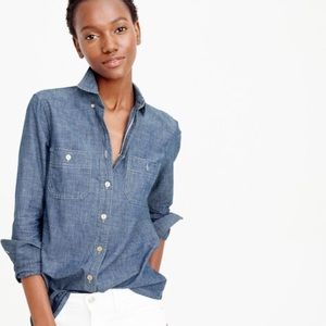 J Crew Jean Wash Button Down Shirt w/Front Pockets